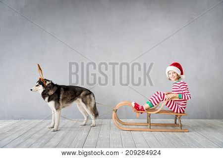 Happy child and dog on Christmas eve. Kid and pet dressed in Santa Claus hat. Girl having fun with husky at home. Chinese calendar new year concept