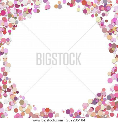 Geometrical random dot background - vector graphic design from colored circles with blank space in the middle