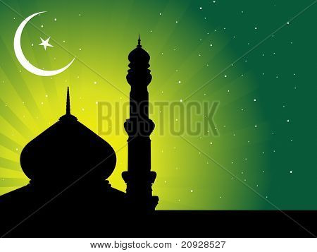 silhouette of mosques in over bright night sky, wallpaper