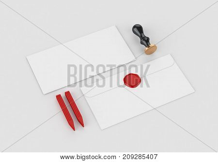 Wax seal personal stamp mockup template for branding identity on gray background for graphic designers presentations and portfolios. 3D rendering.