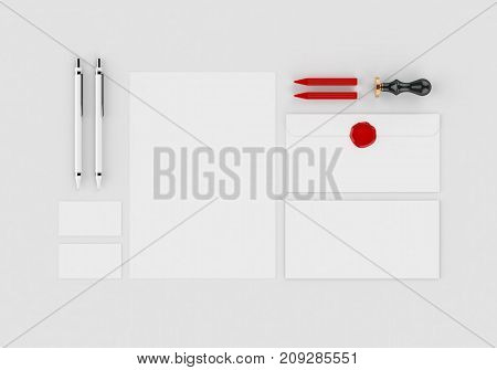 Base white stationery mock-up template for branding identity on gray background for graphic designers presentations and portfolios. 3D rendering.