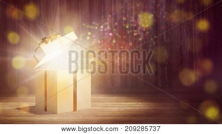 Glowing gift or present with beam light as christmas magic sorprise (3D Rendering)