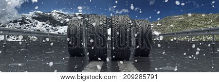 Winter tires on highway with snow as exchange and safety concept (3D Rendering)