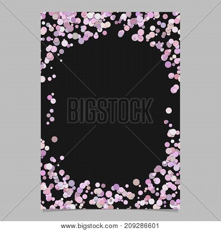 Abstract random dot design page template - trendy vector blank poster border graphic with circles in pink tones on black background