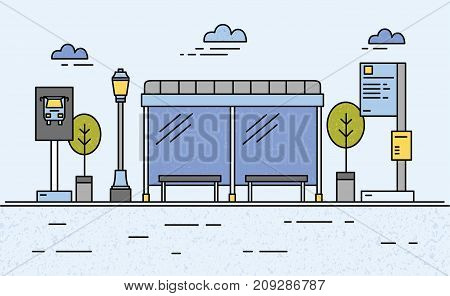 Bus stop, street light, public transport timetable and information for passengers, sign and trees against sky with clouds on background. City transportation system. Vector illustration in flat style