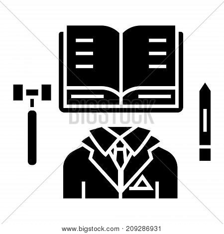 business law - open book icon, illustration, vector sign on isolated background