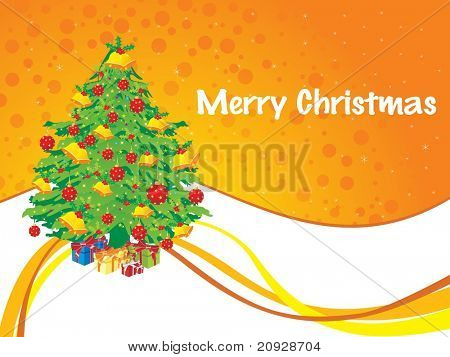 decorated xmas tree with christmas day background