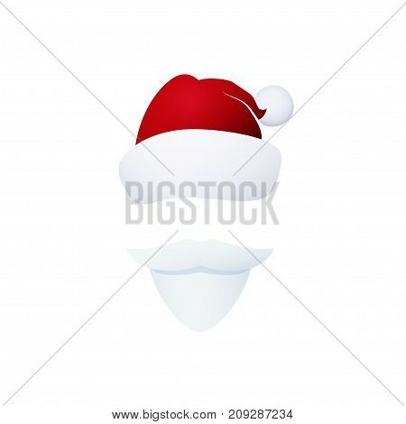 Santa Claus Face Santa Claus with a Beard Isolated on White Mustache and Hat without a Face Christmas Decorations Merry Christmas and Happy New Year