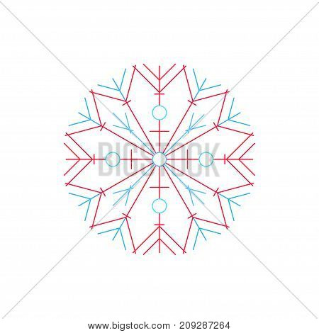 Bright Snowflake Isolated on White Background Merry Christmas and Happy New Year Christmas Decoration Line