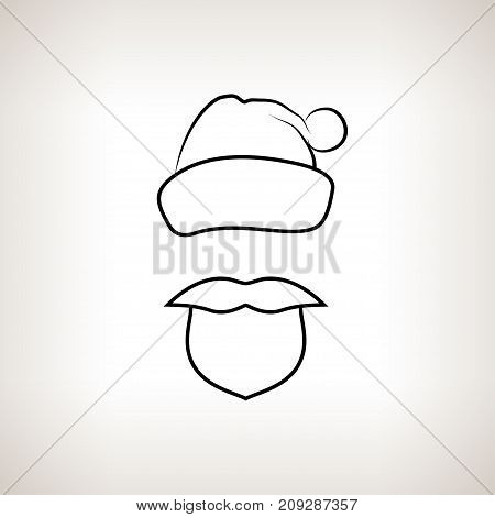 Santa Claus Face Santa Claus with a Beard Mustache and Hat with Pompon without a Face Christmas Decorations Drawing in Linear Style Black and White Illustration