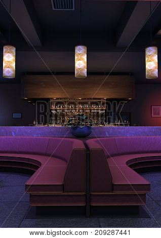 3D rendering of a luxury night lounge bar interior in a purple light