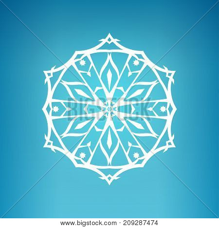 Snowflake on a Blue Background Christmas Decoration Drawing in the Contours