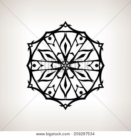 Snowflake on a Light Background Christmas Decoration Drawing in Linear Style Black and White Illustration