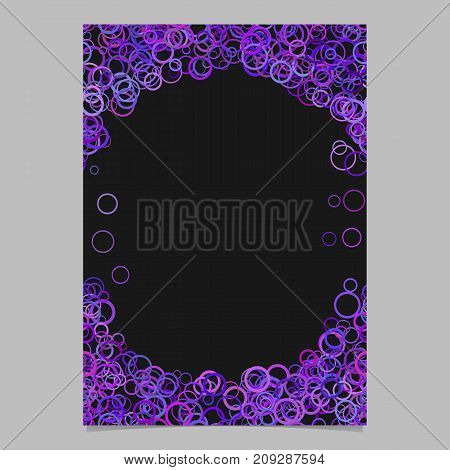 Purple abstract random circle design page template - vector blank stationery border design with rings on black background