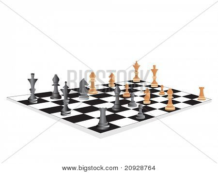 vector chess board and figures,