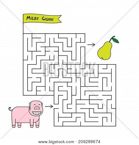 Cartoon pig maze game. Funny game for children education