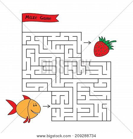 Cartoon fish maze game. Funny game for children education