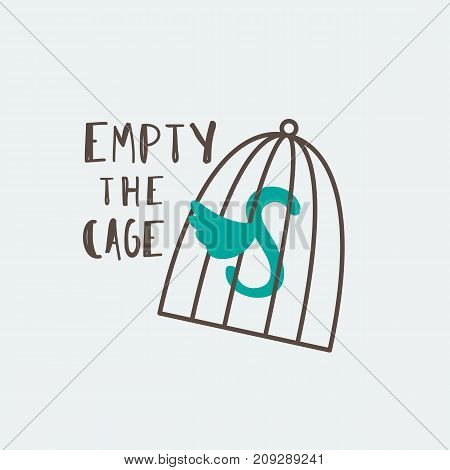 Cage symbol with Empty the Cages typography. Vector emblem for animal welfare design