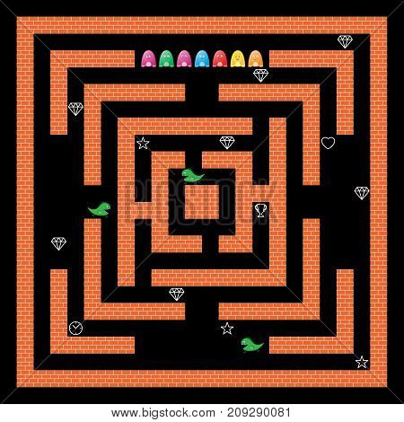 Game design with monsters and maze. Arcade video game interface. Brick walls, bonuses icons, characters and sprites