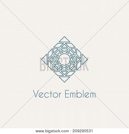 Mosaic arabic linear ornament. Vector rhombus emblem for ornamental design or logos