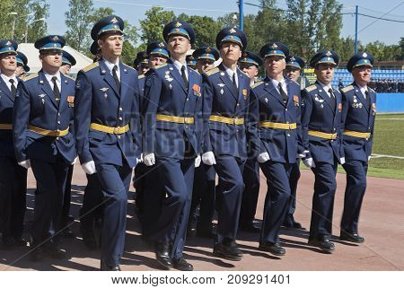 St. Petersburg, Russia - June 16, 2017: System of officers in the solemn march dedicated to the 305th edition of the A. F. Mozhaisky Military Space Academ