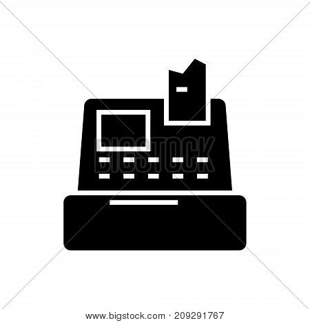 cash machine - shop register icon, vector illustration, black sign on isolated background