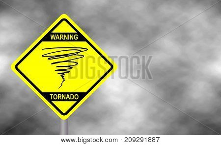 Warning tornado sign road. Yellow hazard warning sign against grey sky - tornado warning bad weather warning vector illustration. Hurricane season with symbol sign against a stormy background