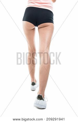 Sexy Back Of Fit Girl Running Wearing Shorts