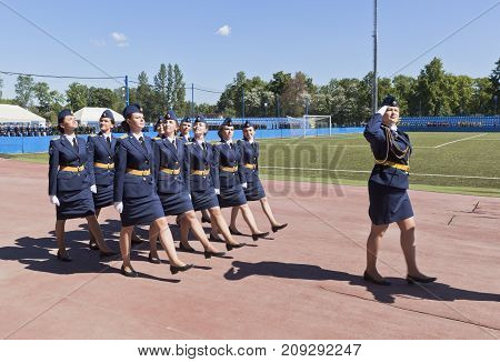 St. Petersburg, Russia - June 16, 2017: Parade formation of girls lieutenants 305 issue Military space Academy imeni A. F. Mozhaisky