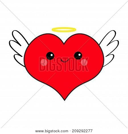 Red heart face head icon set. Devil Angel Evil amour. Trident horn wing nimbus. Cute cartoon kawaii character. Happy Valentines day Contour symbol. Flat design. Greeting card. White background. Vector