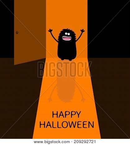 Happy Halloween. Screaming monster silhouette standing at doorway. Eyes teeth spooky hands. Open door with shadow. Black Funny Cute cartoon baby character. Flat design. Orange background. Vector