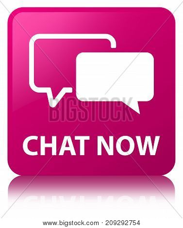 Chat Now Pink Square Button