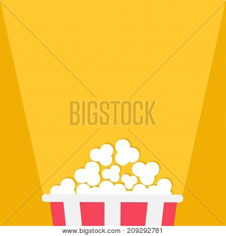 Popcorn. Projector ray of light. Red yellow strip box. Cinema movie night icon in flat design style. Yellow background. Isolated. Vector illustration