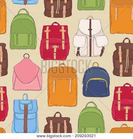Modern seamless pattern with backpacks or rucksacks of different styles and colors. Backdrop with stylish bags or fashionable accessories. Colorful vector illustration for textile print, wallpaper