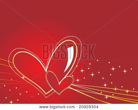 background with red romantic heart poster