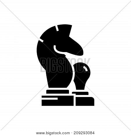 chess - horse, pawn icon, illustration, vector sign on isolated background
