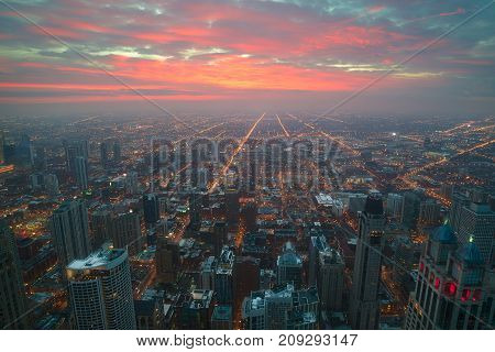 The skies above the City of Chicago at Sunset