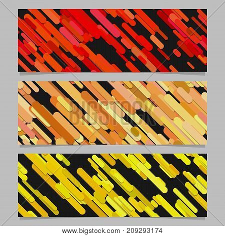 Seamless geometric chaotic diagonal stripe pattern banner template background design set - horizontal rectangle vector graphics with rounded stripes in colored tones