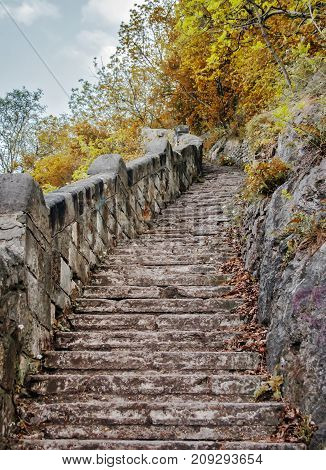 Beautiful upgoing old stone stairway among brown autumn leaves