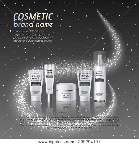 3D Realistic Cosmetic Bottle Ads Template. Cosmetic Brand Advertising Concept Design With Glittering