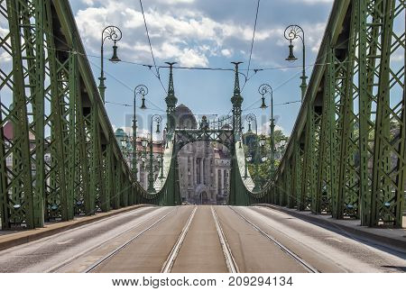 Liberty Bridge in Budapest city over Danube river