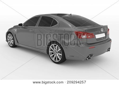 Car Isolated On White - Gray Paint, Tinted Glass - Back-left Side View