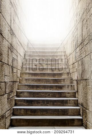 Marble stairs lift up to light - castle environment