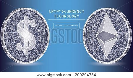Ethereum digital currency vector icons and symbols. Crypto currency token coins with ethereum and dollar symbols. Peer to peer network digital payment system. Blockchain concept.
