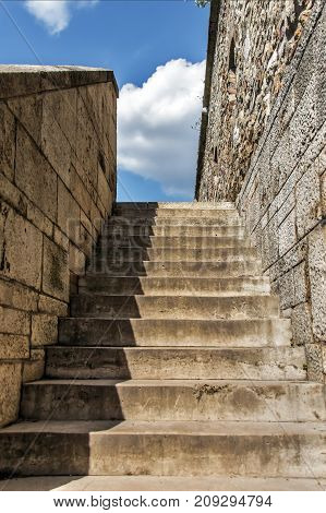 Stone stairway up to sky - castle environment