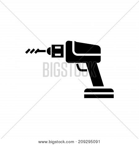 construction drilling machine icon, illustration, vector sign on isolated background
