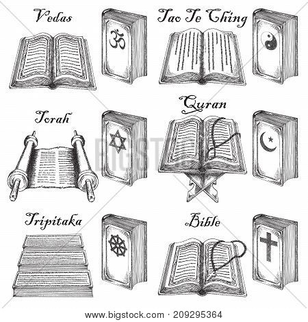 Vector ink hand drawn sketch style holy books set. Holy books of world religions judaism, christianity, islamism, buddhism, hinduism, taoism vintage sketch illustration.