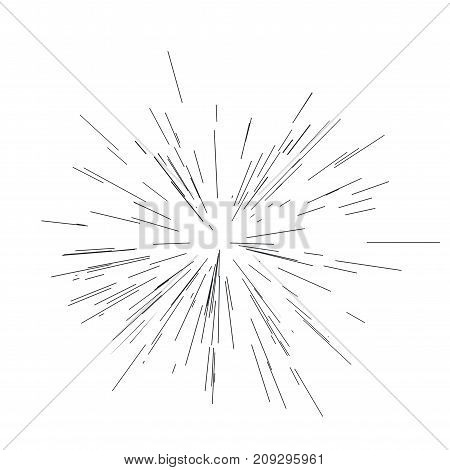 Sun burst, star burst sunshine. Radiating from the center of thin beams, lines. Vector illustration Design element Dynamic style Abstract explosion, speed motion lines from the middle, radiating sharp