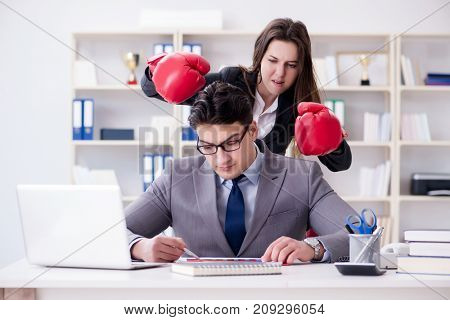 Office conflict between man and woman