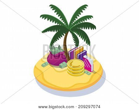 Offshore company concept with money banknotes, coins on tropical island with palm and dollar sign, folders with documents, financial fraud poster, isometric 3d vector illustration